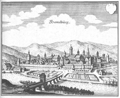 Drawing of Hammelburg Germany  in 1655