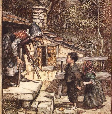 Hansel and Gretel greeted by the witch, Rackham illustration