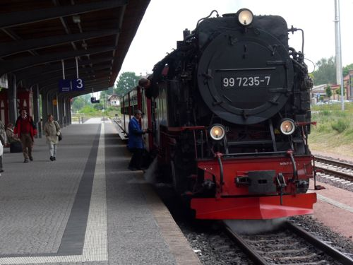 Steam engine at the Quedlinburg train station, Harz Mountains