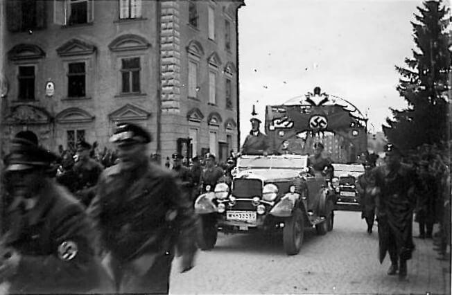 Adolf Hitler entering Braunau in car in 1938