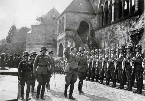 Hitler visiting the Kaiserpfalz, 1934, Goslar, Germany