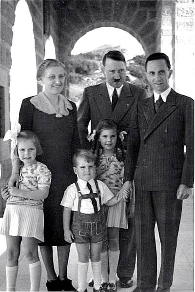 Hitler on Eagle's Nest sun porch with the Goebbels family