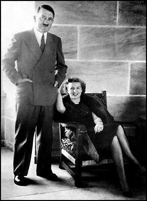 Hitler and Eva Braun in the reception room at the Eagle's Nest