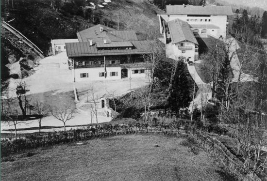 Aerial view of hotel zum turken and berghof, before bombing