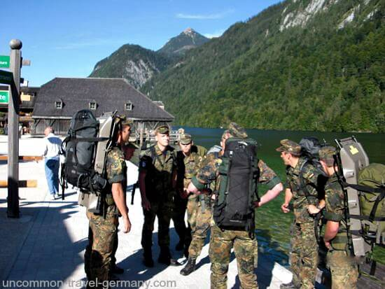 German soldiers hiking at Lake Königssee