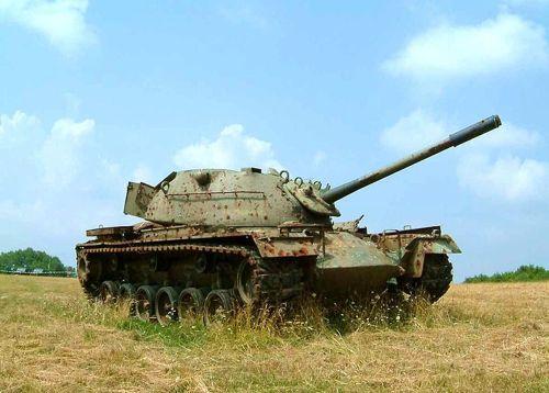 Rusting M48 Patton tank at Lager Hammelburg