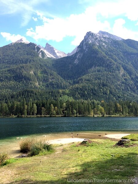 Lake Hintersee and Alps behind it, near Berchtesgaden