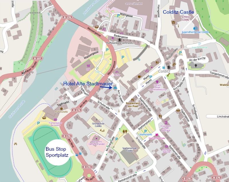 Map of town center of Colditz, Germany