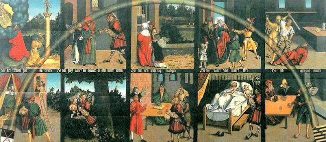 The Ten Commandments, Lucas Cranach the Elder, Martin Luther's residence, Wittenberg Germany