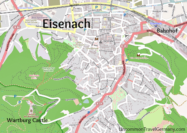 Map showing town of Eisenach, Germany, and Wartburg Castle