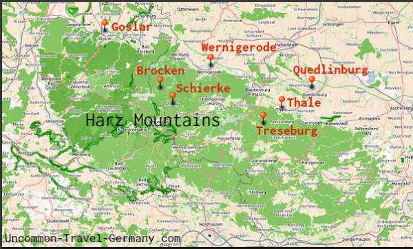 Map of Harz Mountains showing Harz towns