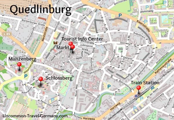 Map of Quedlinburg, highlights marked