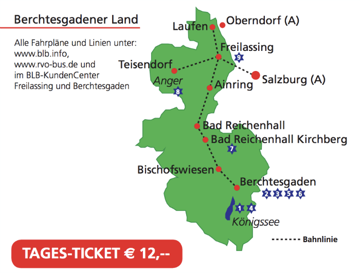 Map of train lines near Berchtesgaden and Salzburg covered by the Day Ticket