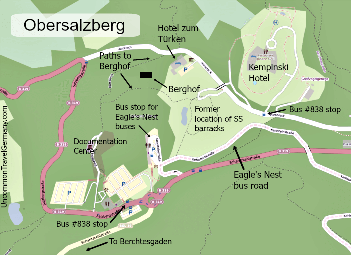 Map of Obersalzberg showing Berghof ruins, Documentation Center, and bus stops