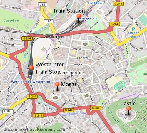 Map of Wernigerode with castle, town square and train stops, Harz Mountains, Germany
