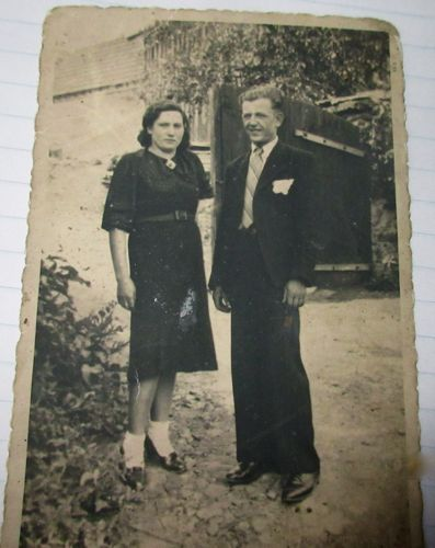 Wladzimier Soloducha, Polish POW in Stalag 13b, and His Future Wife, Gipp Farm, Fall 1945