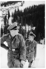 Two SS officers on a snowy walk on the Obersalzberg