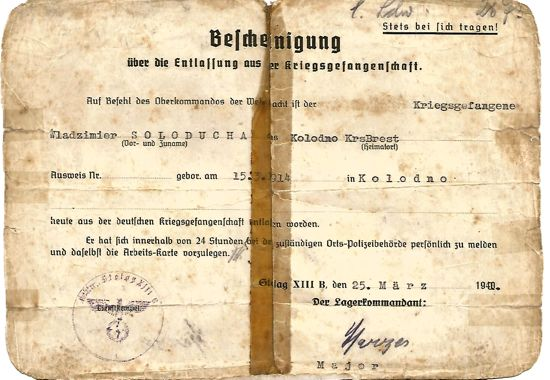 Identity papers of Polish POW in Stalag 13b, Weiden Germany, WW2