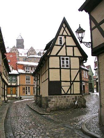 Finkenherd House in winter, Quedlinburg, Harz, Germany