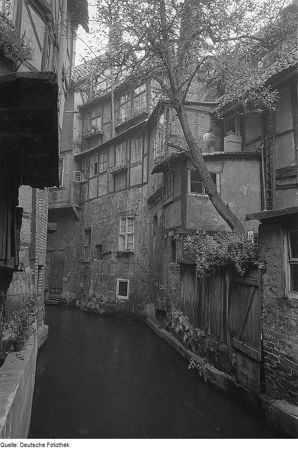 Quedlinburg in the post war period, houses along a stream
