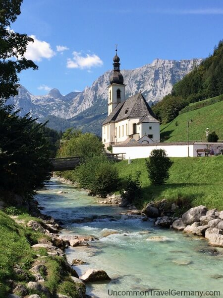 Ramsau church and stream, near Berchtesgaden