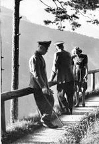 Hitler, Eva Braun and von Ribbentrop on Obersazberg overlook point
