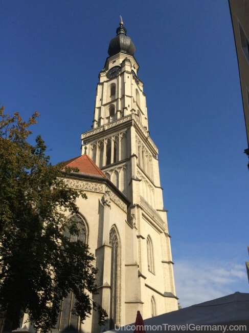 Spire of St. Stephan's Church in Braunau am Inn, Austria