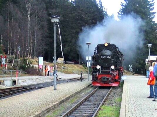 Steam train arriving at Schierke Station, Harz Mountains, Germany