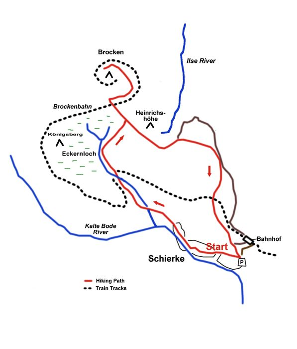 Map of the hike from Schierke to the summit of the Brocken, Harz Mountains, Germany
