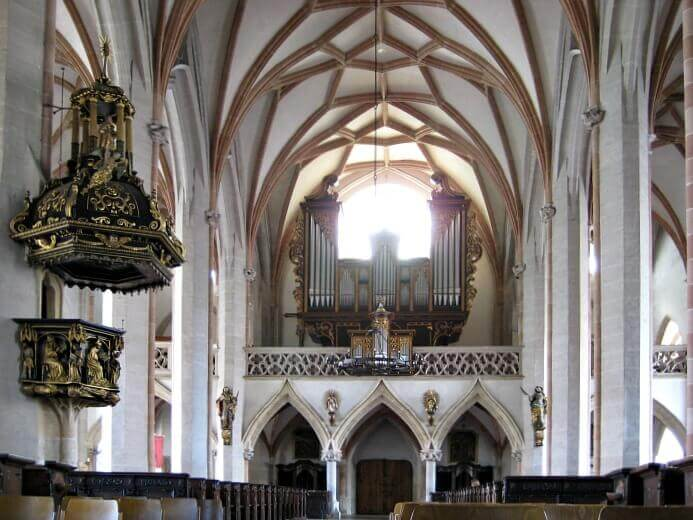 Interior of St. Stephan's church in Braunau am Inn, Austria