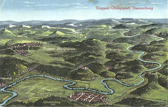 Map showing Lager Hammelburg and the Town of Hammelburg, 1920's