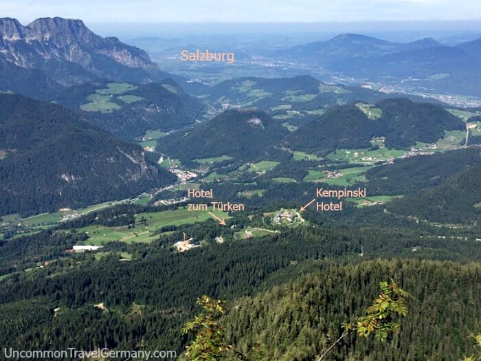 View of Obersalzberg and hotels from Eagles Nest, Germany