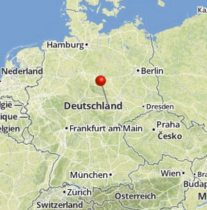 Location of Wartburg Castle on map of Germany