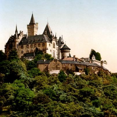 Wernigerode Castle on hill, Harz Mountains, Germany