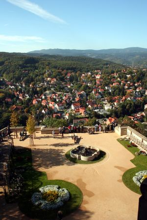 View of Wernigerode from the castle, Harz Mountains, Germany