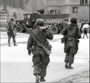 American infantry soldiers arrive in Berchtesgaden, May 1945