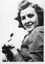 Eva Braun holding rabbit