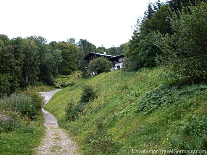 View of Hotel zum Truken from remains of Berghof driveway