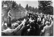 Hitler greeting fans below Berghof