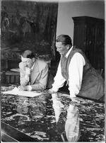 Hitler and Goering looking at plans on table