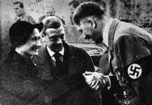 Hitler greeting the Duke and Duchess of Windsor at the Berghof