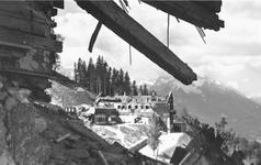 Ruins of Berghof seen through Bormann's ruined house after bombing
