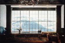 Mountain view through Berghof window