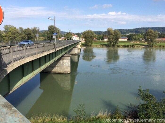 Bridge over River Inn between Austria and Germany at Braunau am Inn.