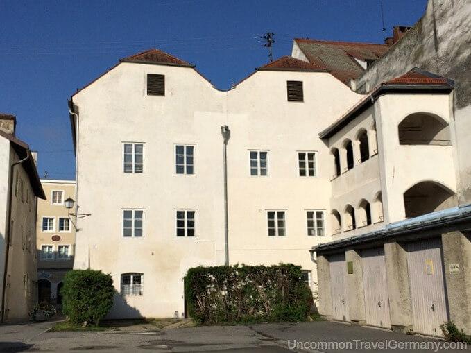 Rear of Hitler's birthplace in Braunau am Inn, Austria