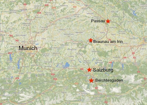 Map showing location of Munich, Berchtesgaden, Passau, Salzburg and Braunau am Inn