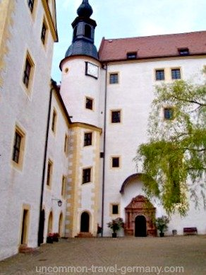 Clock tower and chapel at Colditz Castle