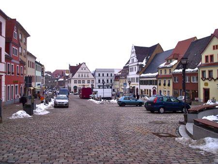 Main square in Colditz in winter