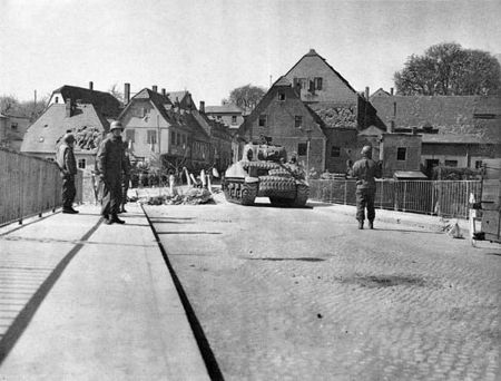American tank arriving in Colditz  Germany 1945
