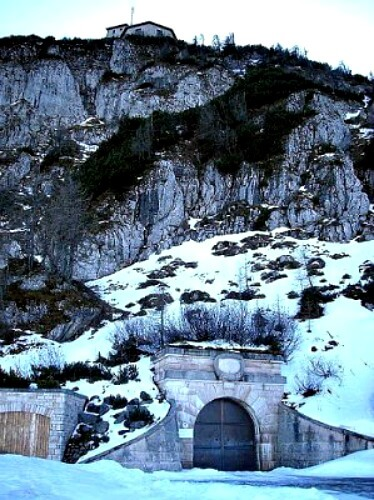 Entrance to the Hitler's Eagle's Nest tunnel in winter, the Kehlsteinhaus